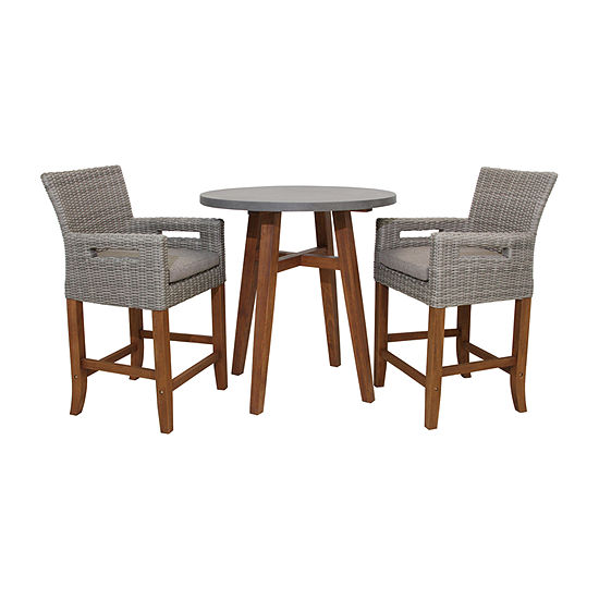 Outdoor Interiors Counter Height Round Composite With Light Grey Wicker Chairs 3-pc. Patio Bar Set