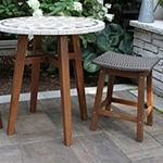 Outdoor Interiors Counter Height Grey Wicker & Eucalyptus 2-pc. Patio Bar Stool