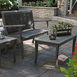 Outdoor Interiors Grey Wash Eucalyptus Wicker Patio Bench