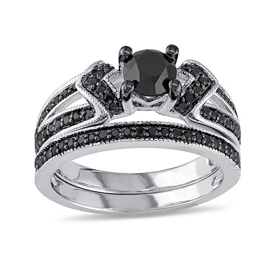 Midnight Black Diamond 1 CT. T.W. Color-Enhanced Black Diamond Sterling Silver Bridal Set