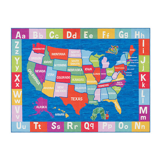 Eric Carle Elementary USA Map Graphic/Print Rectangular Rug
