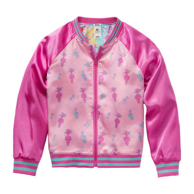 Trolls Reversible Little & Big Girls Trolls Lightweight Bomber Jacket