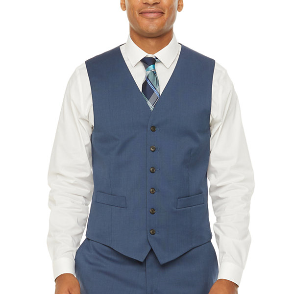 Stafford Super Mens Blue Birdseye Big & Tall Suit Vest