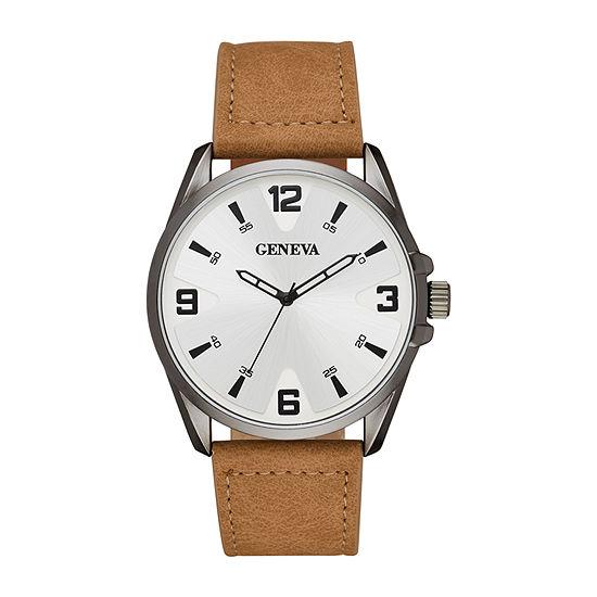 Geneva Mens Brown Strap Watch-Fmdjm606