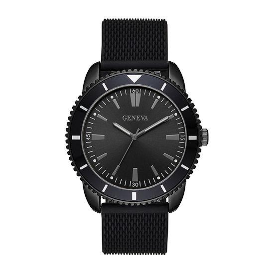 Geneva Mens Black Strap Watch-Fmdjm610