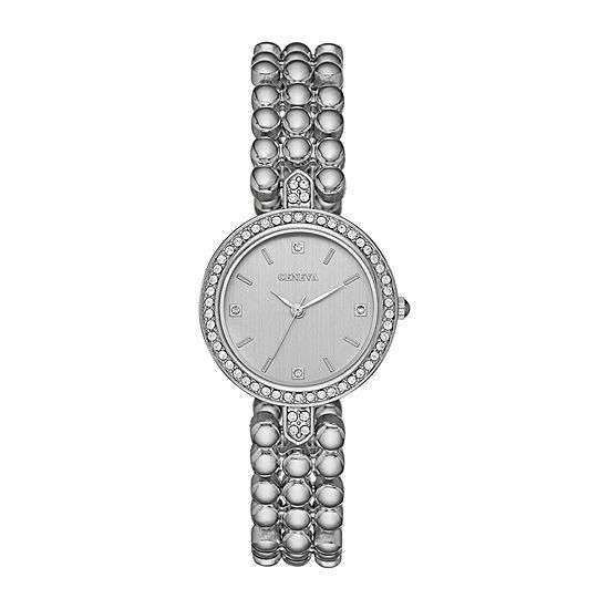Geneva Womens Crystal Accent Silver Tone Bracelet Watch-Fmdjm207