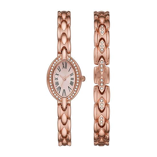 Geneva Womens Crystal Accent Rose Goldtone Bracelet Watch-Fmdjset053