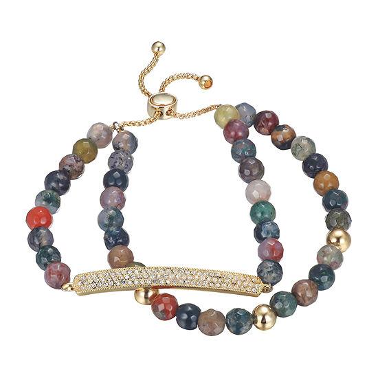 Footnotes Pure Silver Over Brass Genuine Stone Bolo Bracelet