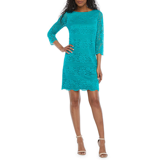 Jessica Howard 3/4 Sleeve Lace Sheath Dress