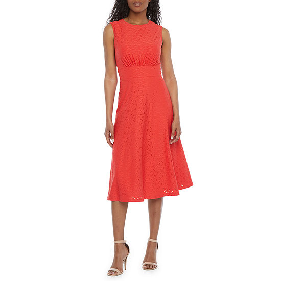 London Style Sleeveless Eyelet Midi Fit & Flare Dress