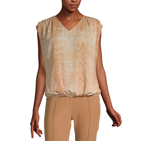 Worthington Womens Banded Hem Dolman Top - Tall