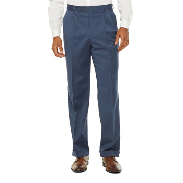 Stafford Super Mens Blue Birdseye Big & Tall Pleated Suit Pants