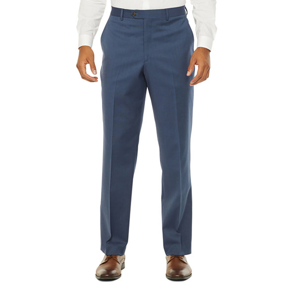 Stafford Super Mens Blue Birdseye Big & Tall Suit Pants