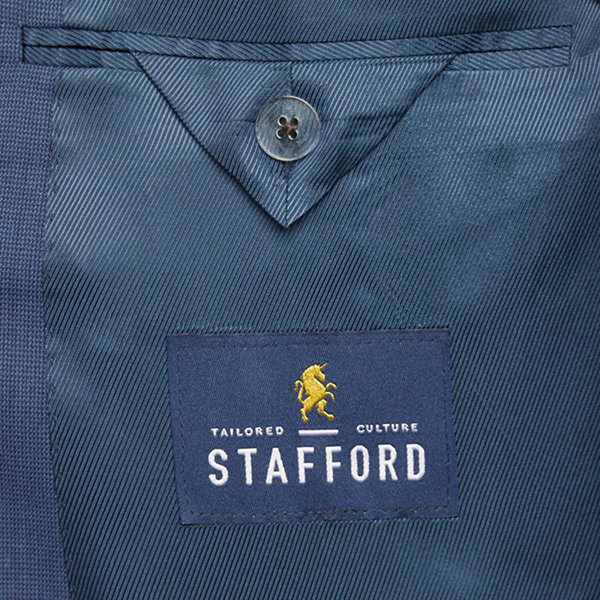 Stafford Super Mens Blue Birdseye Big & Tall Suit Jacket