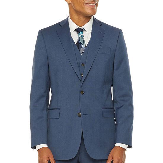Stafford Super Mens Blue Birdseye Big & Tall Suit Jacket