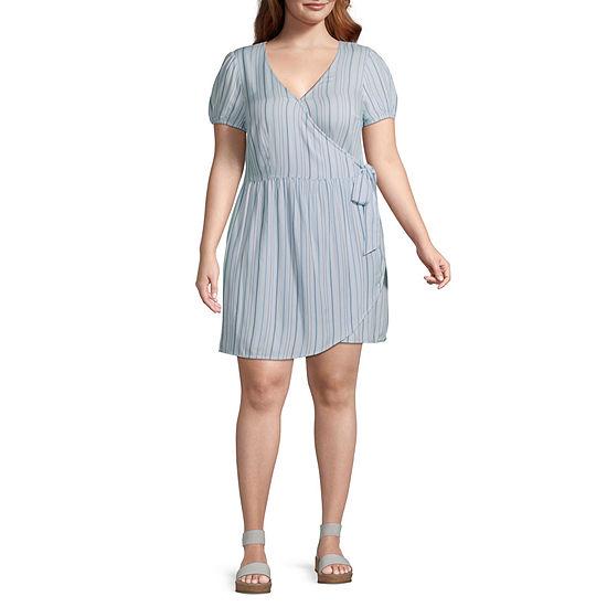 Arizona-Juniors Plus Short Sleeve Striped Wrap Dress
