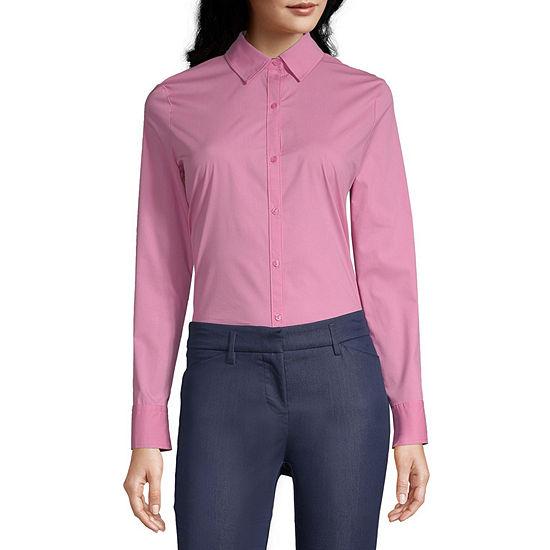 Worthington Womens Long Sleeve Modern Fit Button-Down Shirt