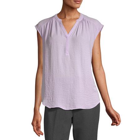Worthington Womens Y Neck Sleeveless Tank Top, X-small , Purple