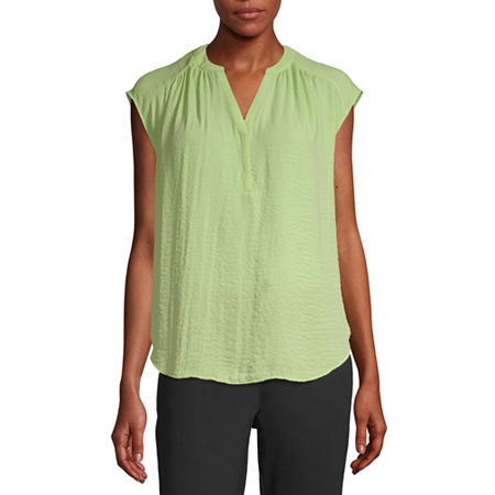 Worthington Womens Y Neck Sleeveless Tank Top, Small , Green