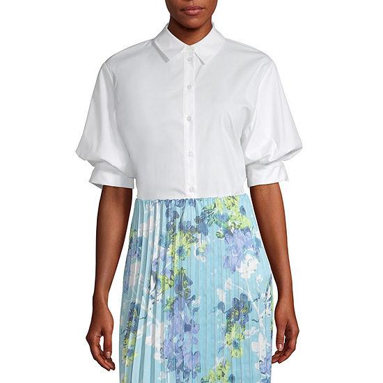 Worthington Womens 3/4 Sleeve Regular Fit Button-Front Shirt