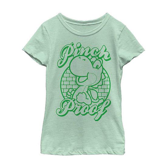 Nintendo Super Mario St. Patty's Yoshi Pinch Proof White Little Kid / Big Kid Girls Short Sleeve T-Shirt