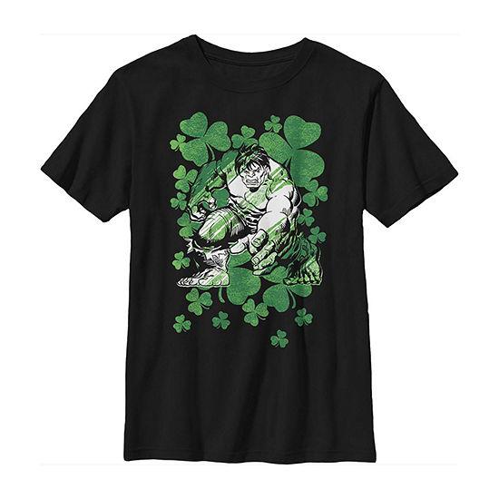 Hulk Shamrocks St. Patrick'S Vintage Little & Big Boys Crew Neck Marvel Short Sleeve T-Shirt