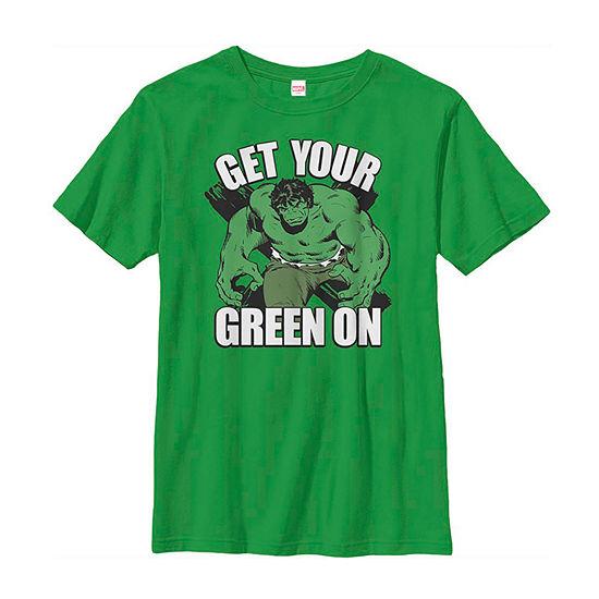 Hulk Get Your Green On Old School Little & Big Boys Crew Neck Marvel Short Sleeve T-Shirt