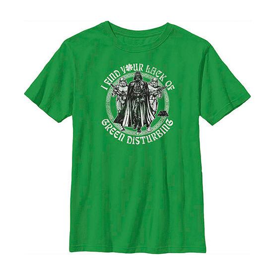 Vader Troopers Lack Of Green Little & Big Boys Crew Neck Star Wars Short Sleeve T-Shirt