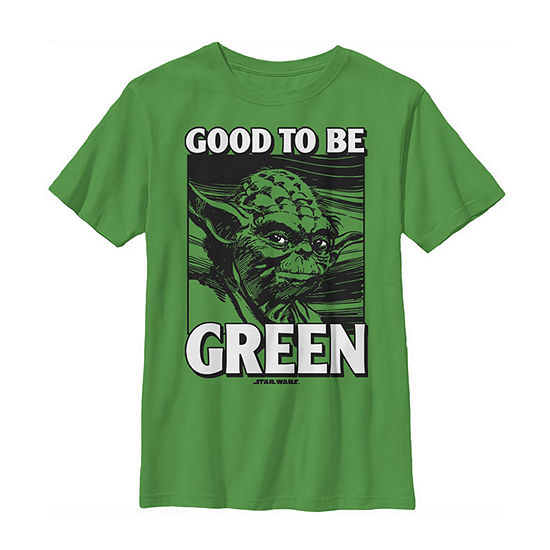 Yoda Good To Be Green St. Patrick'S Day Little & Big Boys Crew Neck Star Wars Short Sleeve T-Shirt