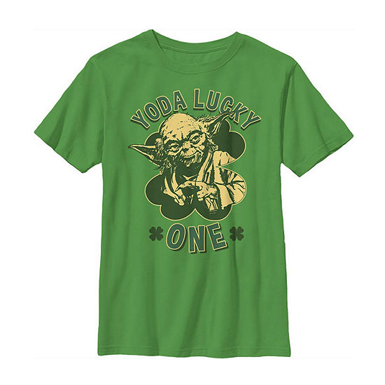Yoda Lucky One Retro St Patrick'S Day Little & Big Boys Crew Neck Star Wars Short Sleeve T-Shirt