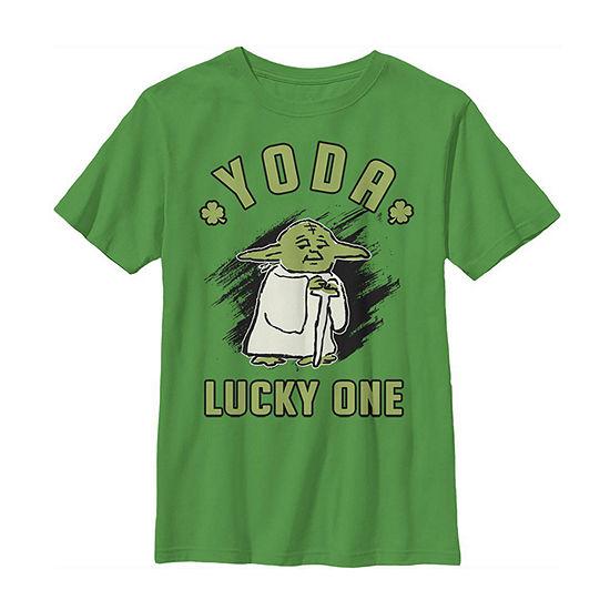 Yoda Lucky One St Patrick'S Day Little & Big Boys Crew Neck Star Wars Short Sleeve T-Shirt