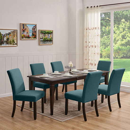 Teresa 7-Piece Rectangular Table Dining Set with Blue Linen Chairs