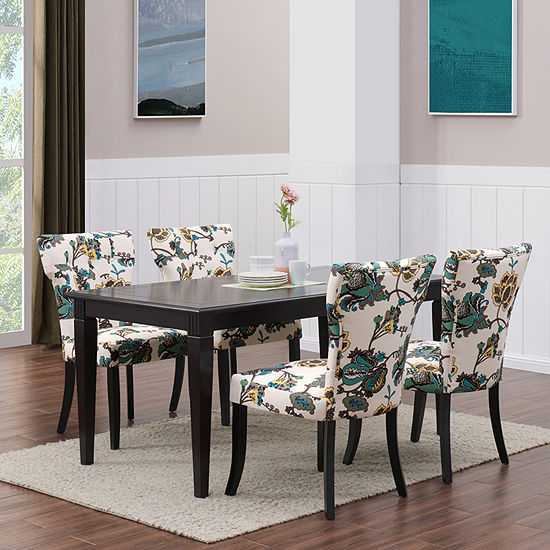 Teresa 5-Piece Rectangular Dining Table Set with Cool Multi Floral Chairs