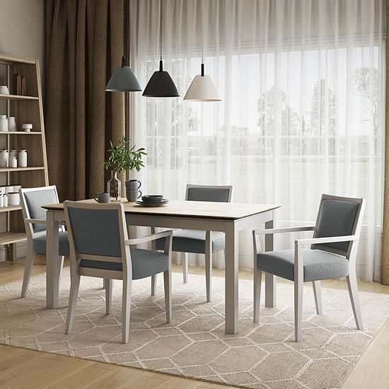 Hercales 5-Piece Smart Top Table Dining Set with Charcoal Arm Chairs