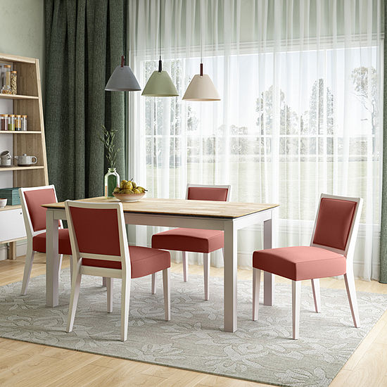 Hercales 5-Piece Smart Top Dining Table Set with Melon Armless Chairs