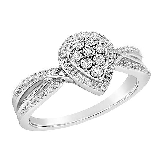 Womens 1/10 CT. T.W. Genuine White Diamond Sterling Silver Cluster Engagement Ring