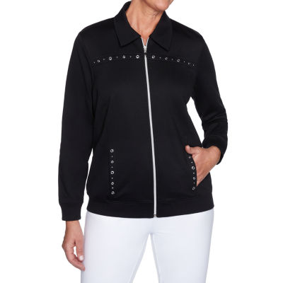 Alfred Dunner Clean Getaway Knit Lightweight Track Jacket
