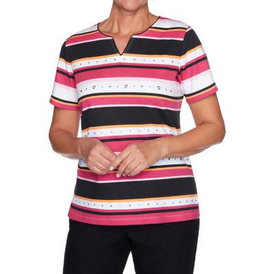 Alfred Dunner Clean Getaway Womens Split Crew Neck 3/4 Sleeve T-Shirt