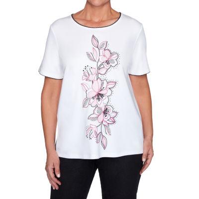 Alfred Dunner Clean Getaway Womens Round Neck Short Sleeve T-Shirt