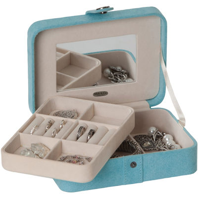 Mele Co Giana Aqua Plush Fabric Jewelry Box w Lift Out Tray