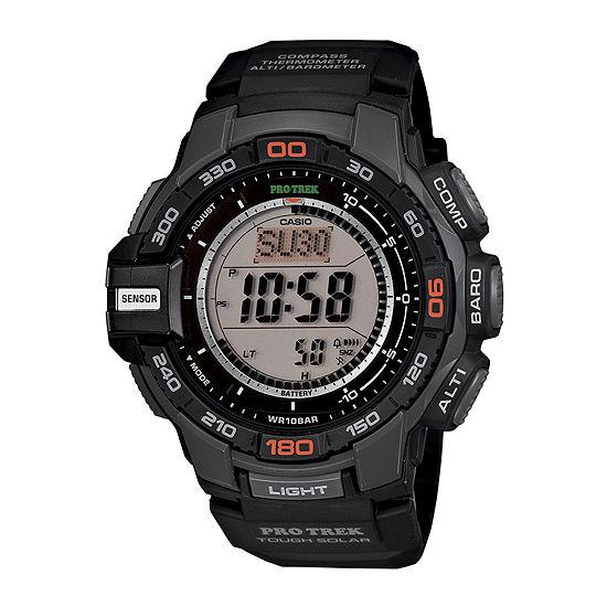 Casio ProTrek Mens Black Resin Strap Solar Chronograph Watch PRG270-1