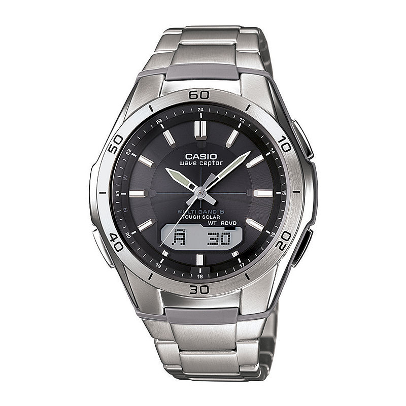 Casio Mens Black Dial Stainless Steel Atomic Time Solar Watch WVAM640D-1A