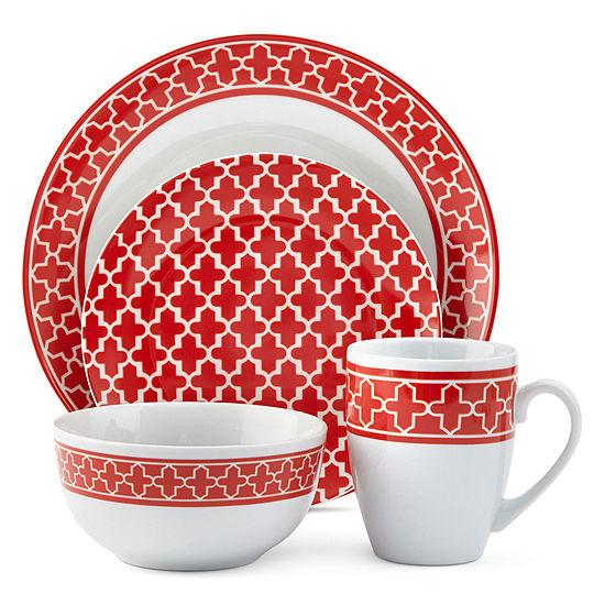 JCPenney Home™ Ogee Quatrefoil 16-pc. Dinnerware Set