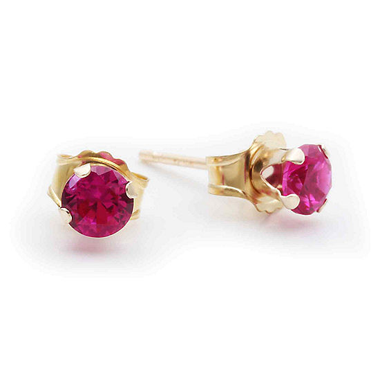10k Yellow Gold 4mm Lab Created Ruby Stud Earrings
