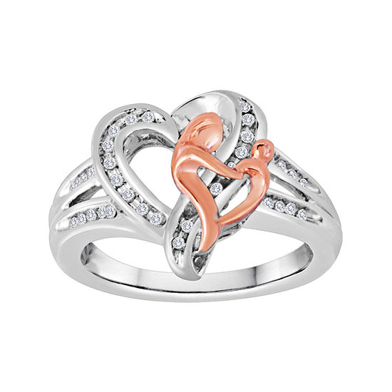1/10 CT. T.W. Diamond Two-Tone Mom Ring