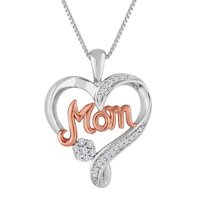 "diamond blossom 1/10 CT. T.W. Diamond 2-Tone ""Mom"" Heart Pendant Necklace"