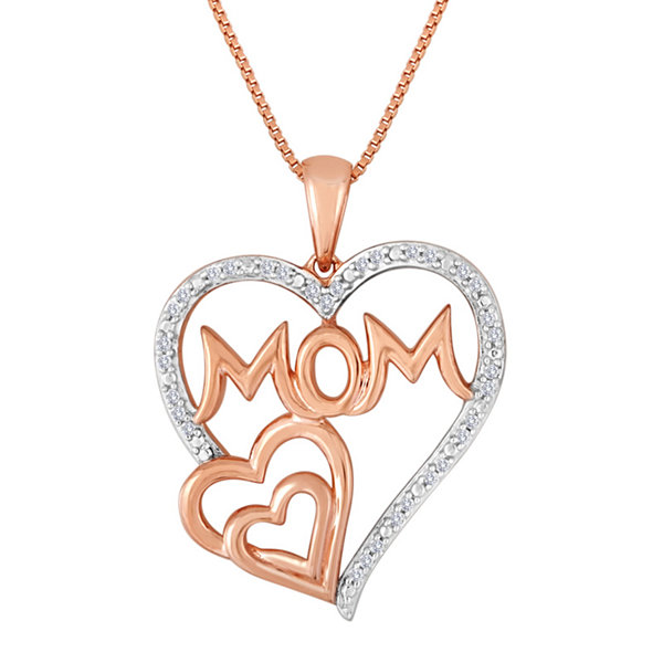 "ForeverMine® 1/10 CT. T.W. Diamond ""Mom"" Triple-Heart Pendant Necklace"