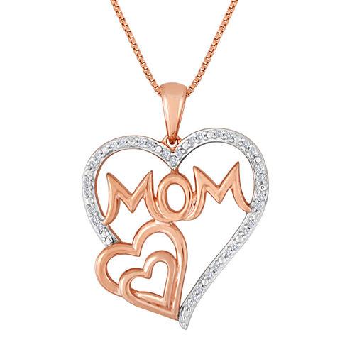 "ForeverMine® 1/10 CT. T.W. Diamond ""Mom"" Triple-Heart Pendant Necklace"
