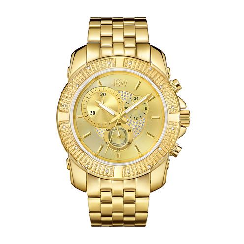 JBW Mens Diamond-Accent 18K Gold-Plated Stainless Steel Watch J6331D