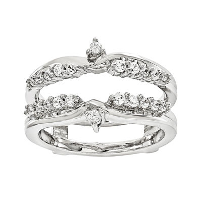 1/3 CT. T.W. Genuine Diamond 14K White Gold Ring Guard